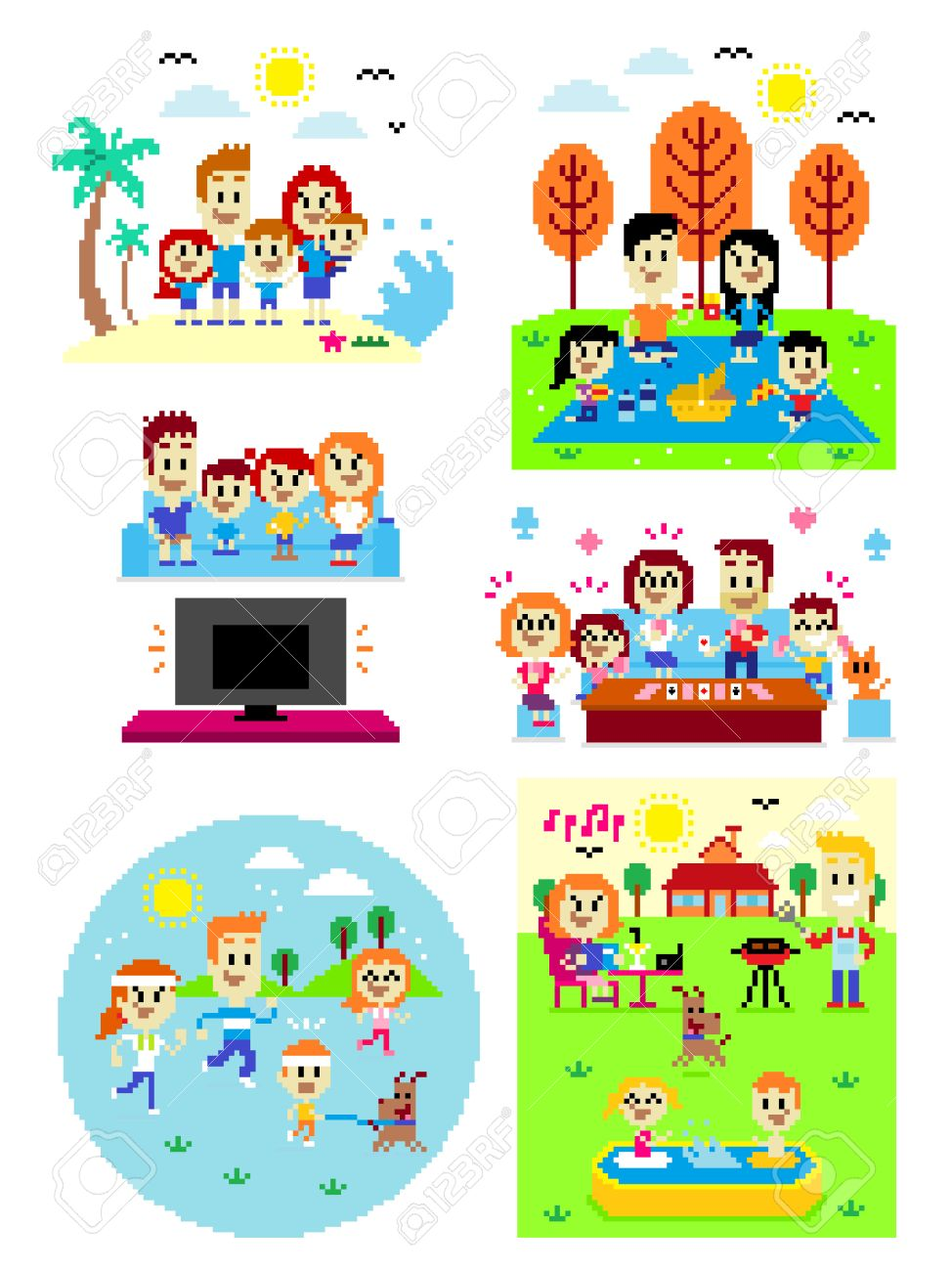 6 Cliparts of Happy Family Time: Family at the Beach, Fun Family...