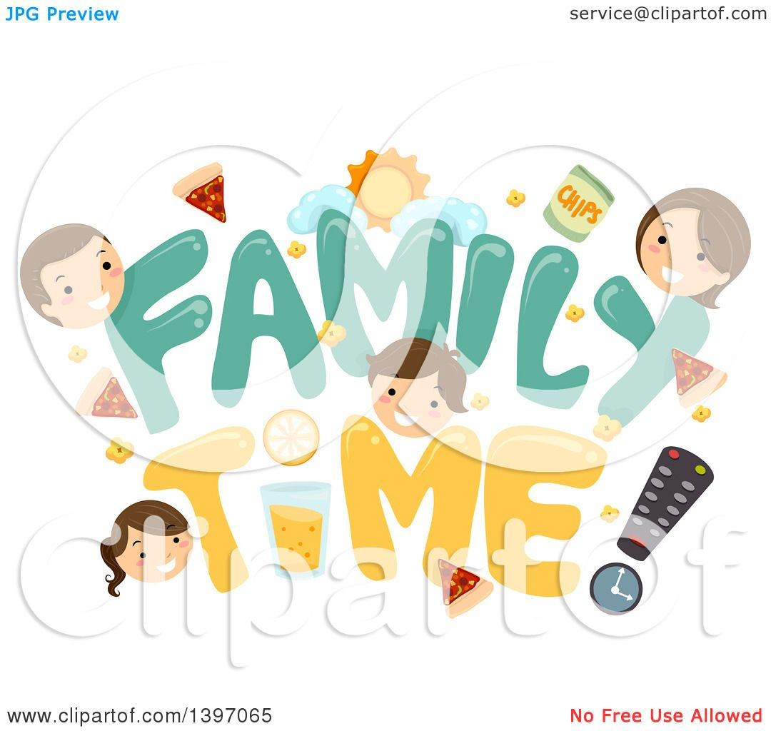 Clipart of a Father, Mother and Children with Family Time Text.