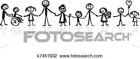 Family together, sketch for your design Clipart.