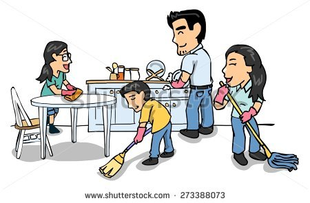 Family cleaning together clipart » Clipart Station.