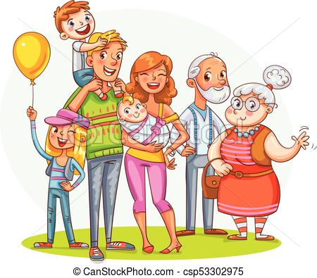 My big family together. Funny cartoon character.
