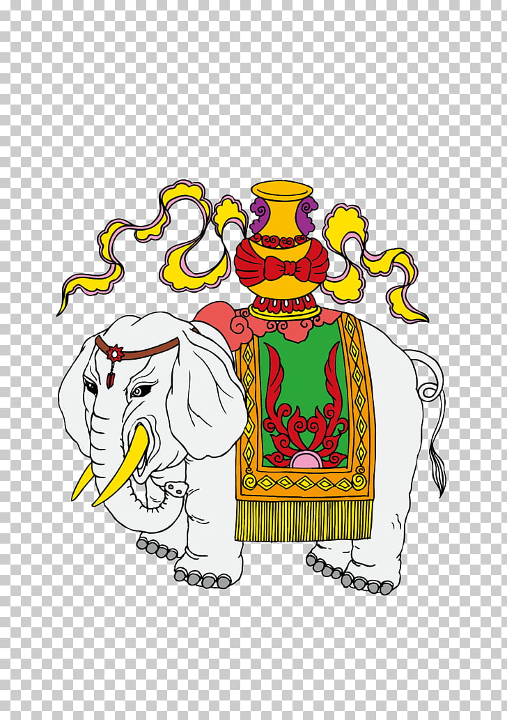 White elephant , Traditional wind pattern Elephant family.