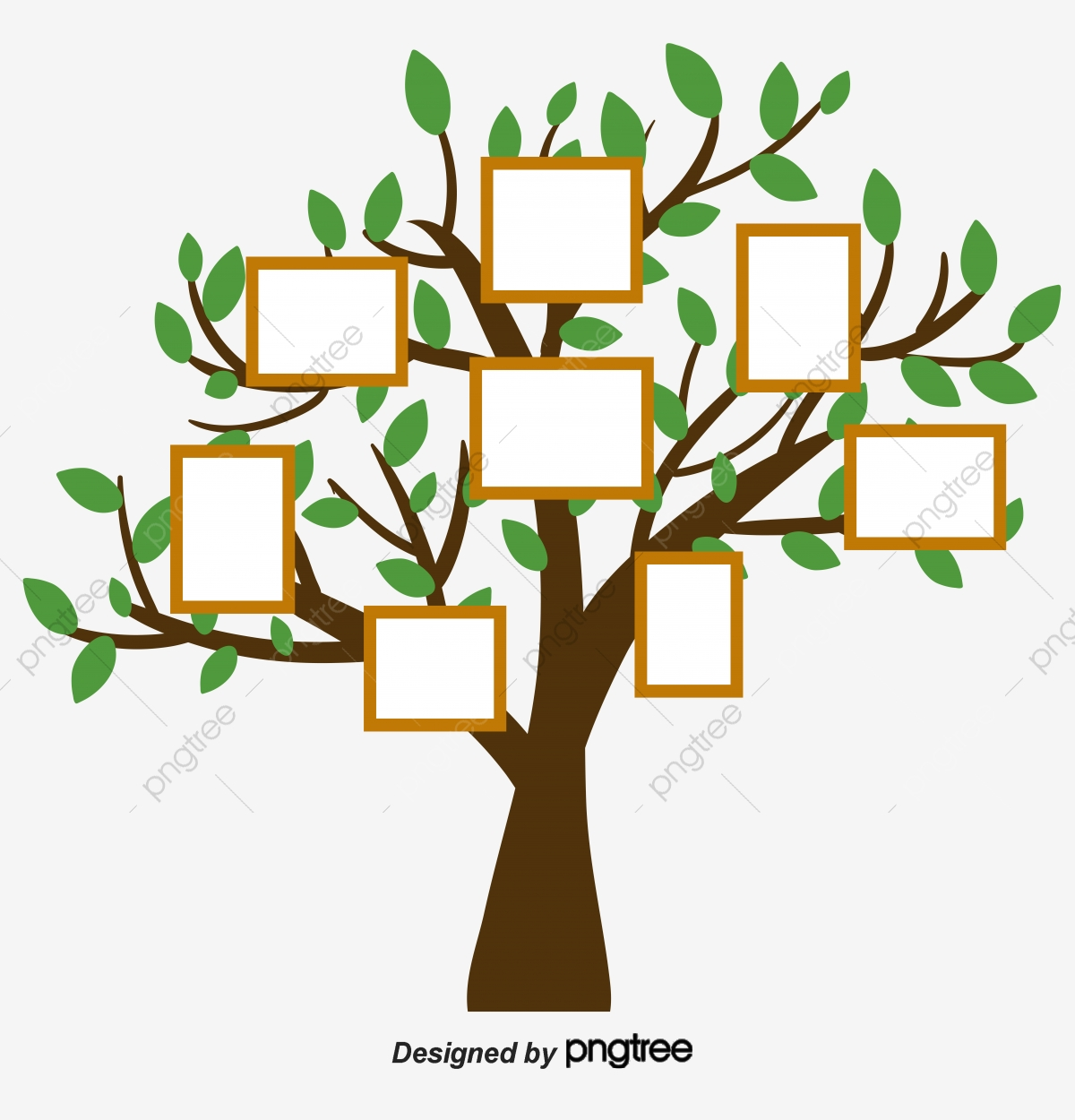 Simple Hand Painted Creative Family Tree, Relationship, Big Tree.