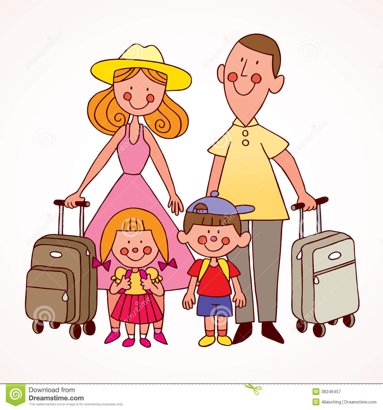 Family traveling clipart.