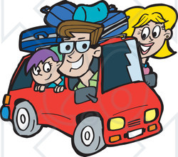 Family on a road trip clipart.