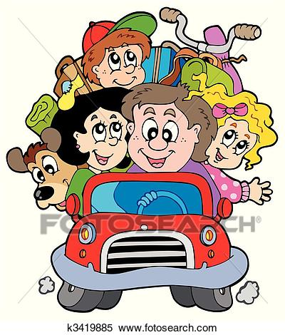 Happy family in car on vacation Clipart.