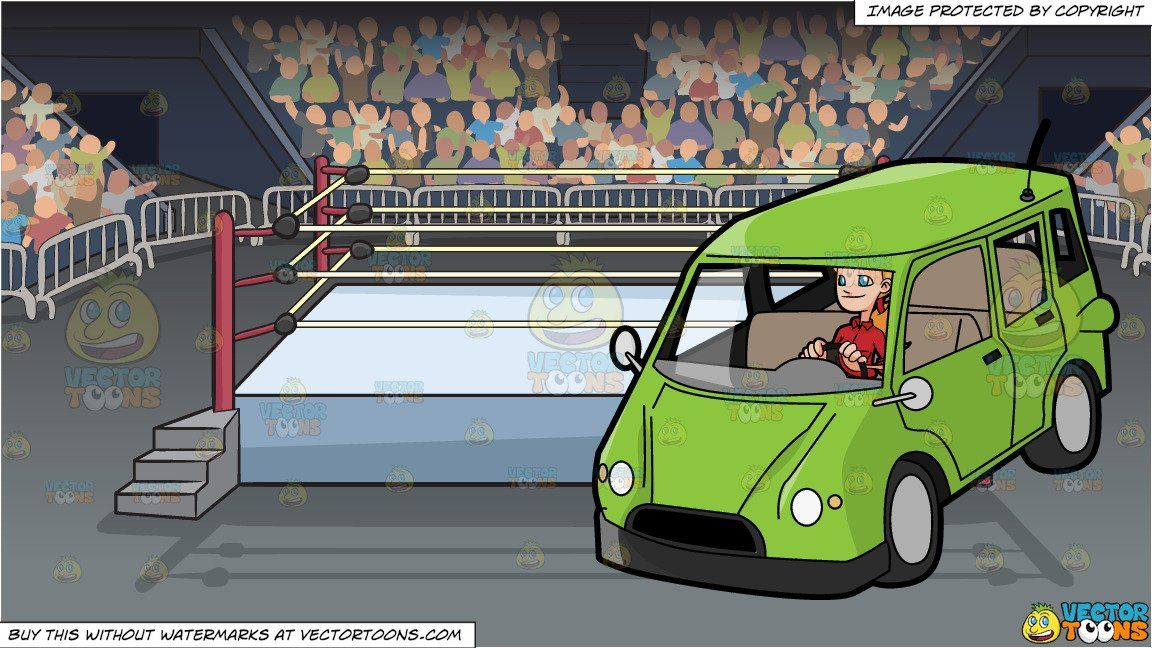 clipart #cartoon A Woman Driving A Family Van and A.