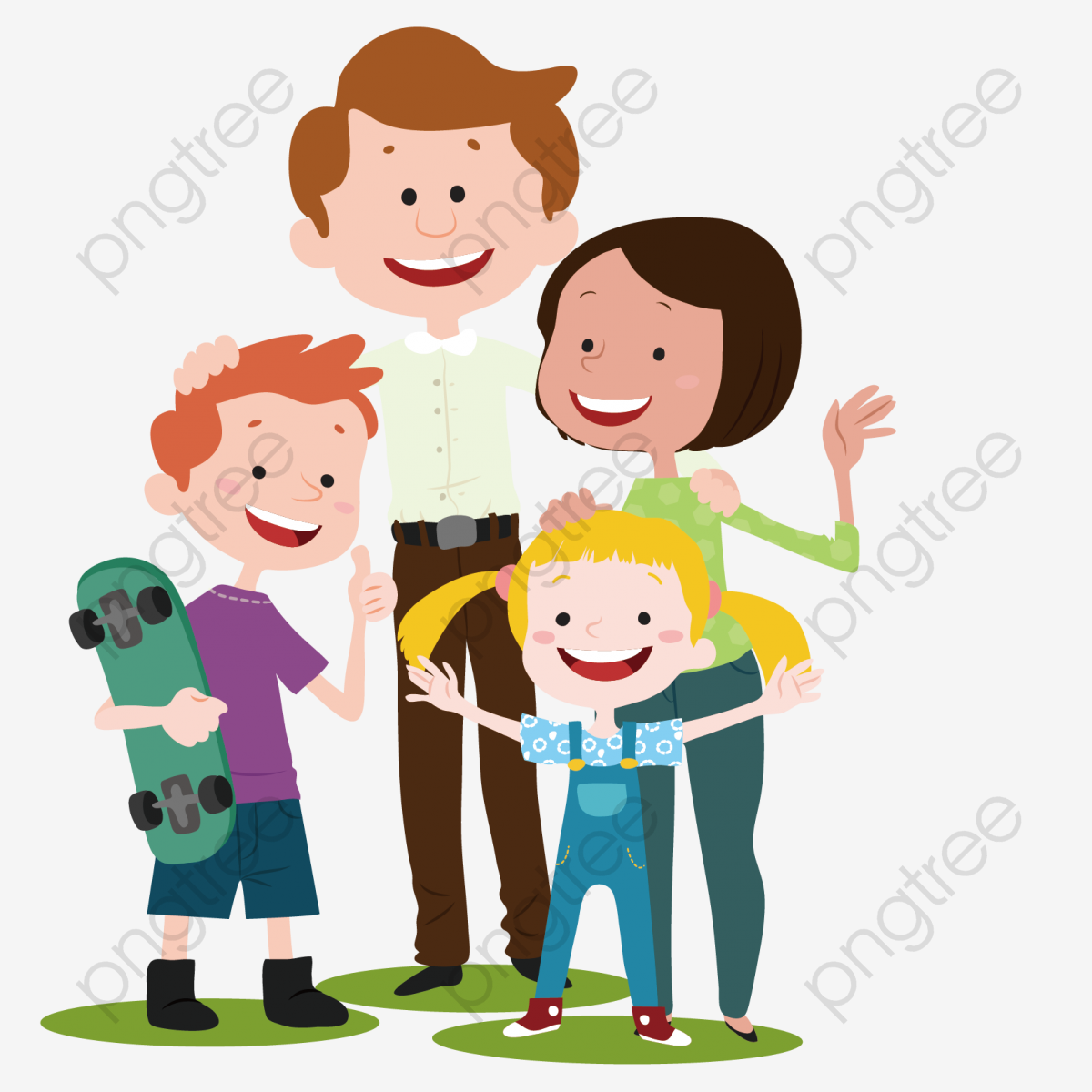 Vector Cartoon Family, Vector, Cartoon, Flat PNG and Vector with.