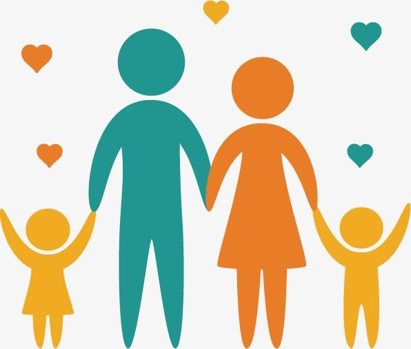 Happy Family Vector, Happy, Family, Silhouette Figures PNG.