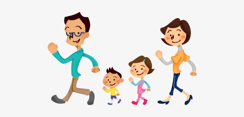 Family Clipart Walking Cute Borders Vectors Animated.