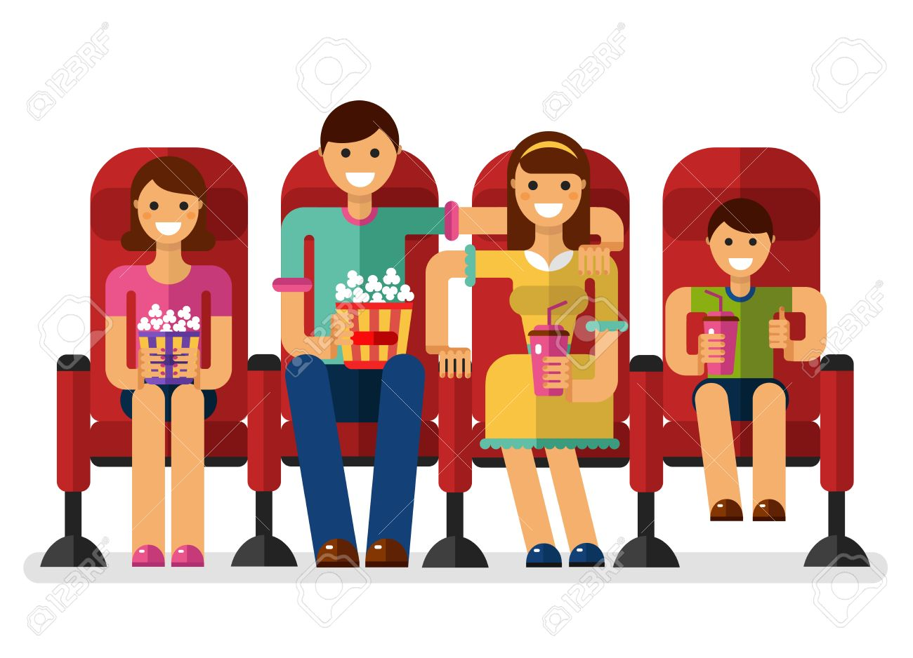 flat style illustration of happy family in the cinema with popcorn...