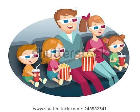 Vector Images, Illustrations and Cliparts: family watching movie.
