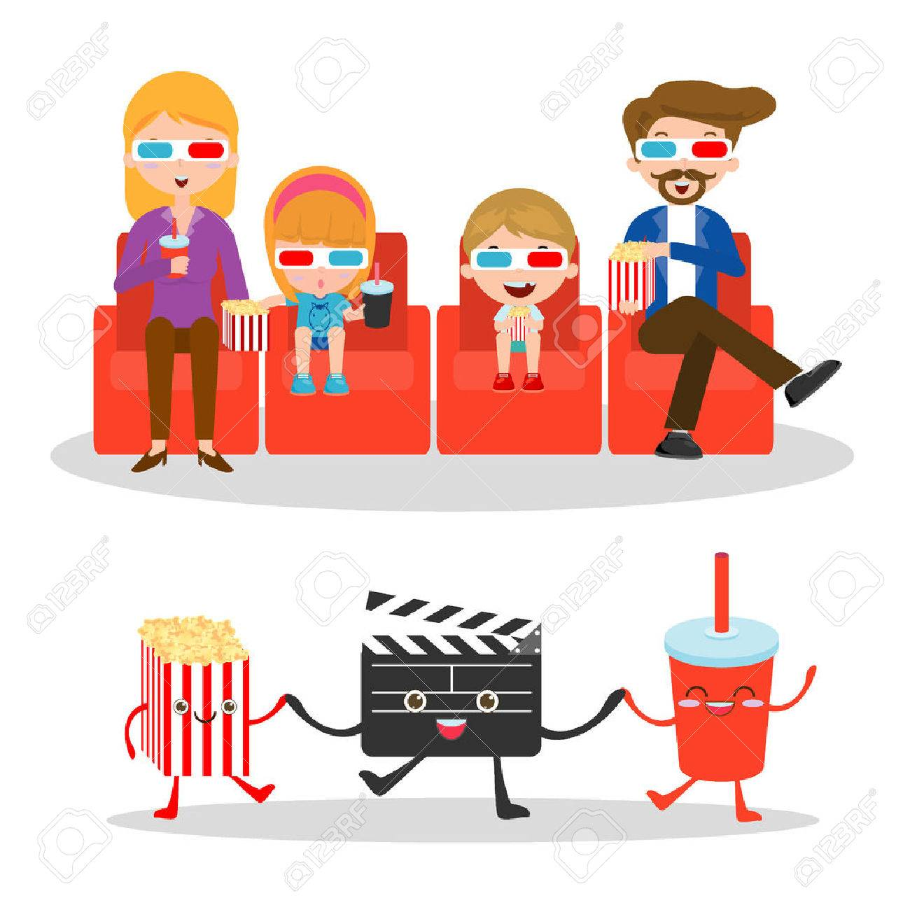 vector illustration of a family watching movie, happy family...