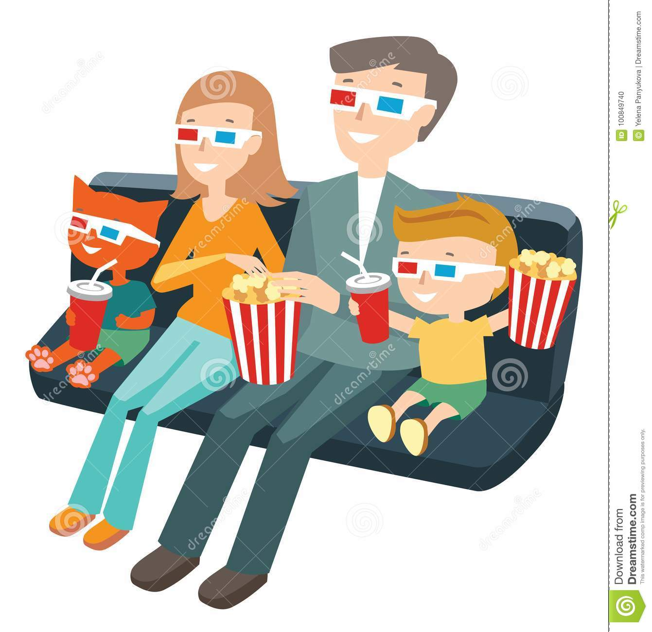 Family Sitting In The Cinema And Watching A Movie Stock Vector.
