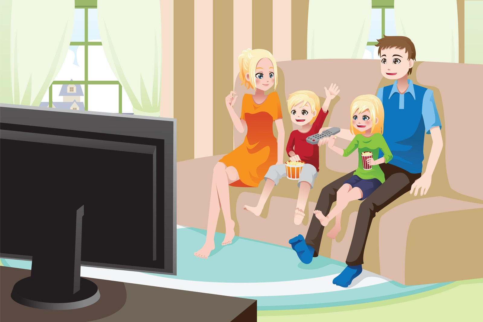Family watching tv clipart 11 » Clipart Station.