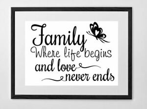 Details about Family where life begins and love never ends.