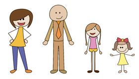 Family With 2 Daughters Clipart.