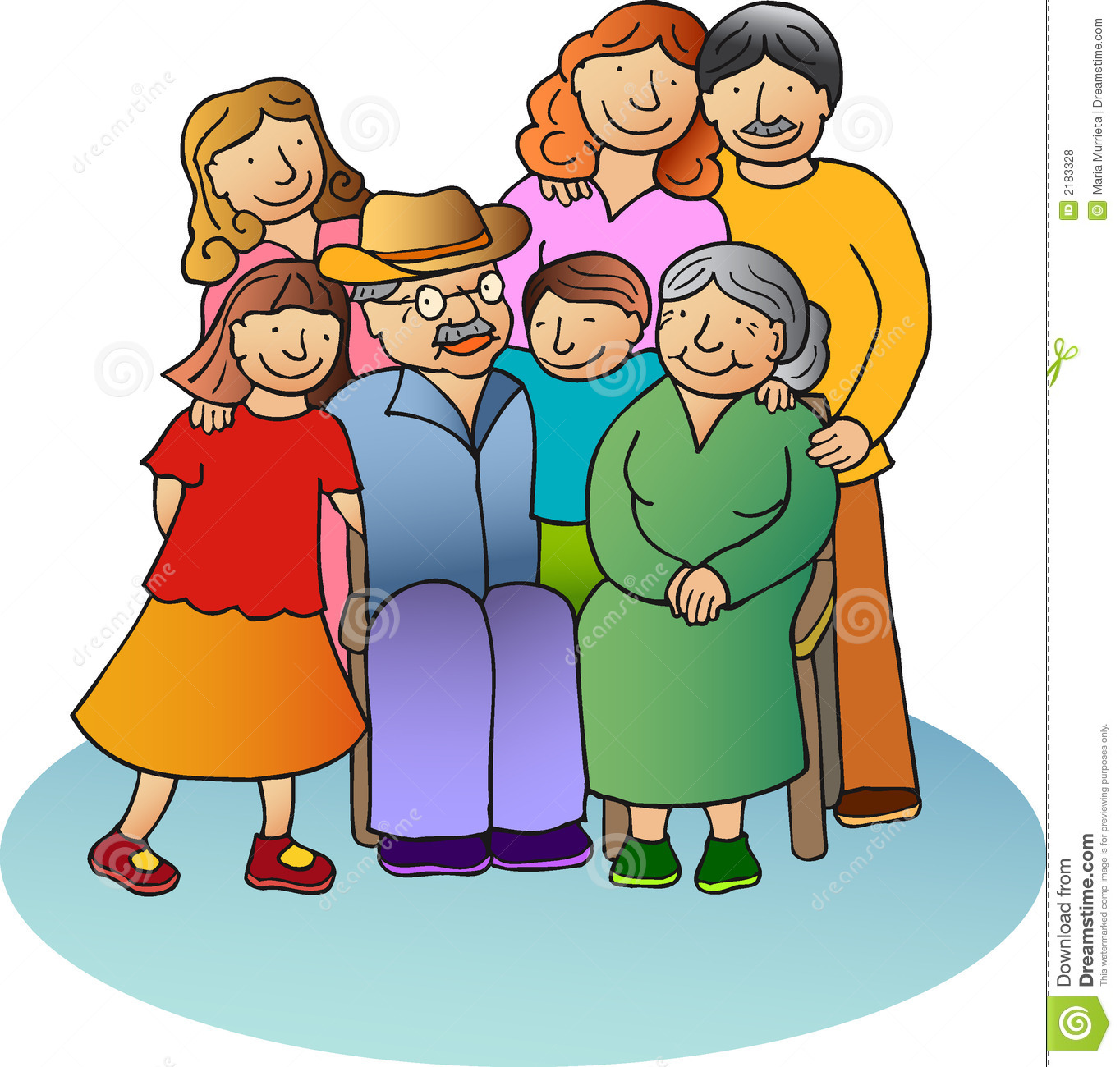 Family with Grandparents Clipart Free.