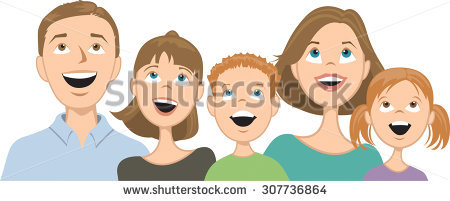 family with three kids clipart - Clipground