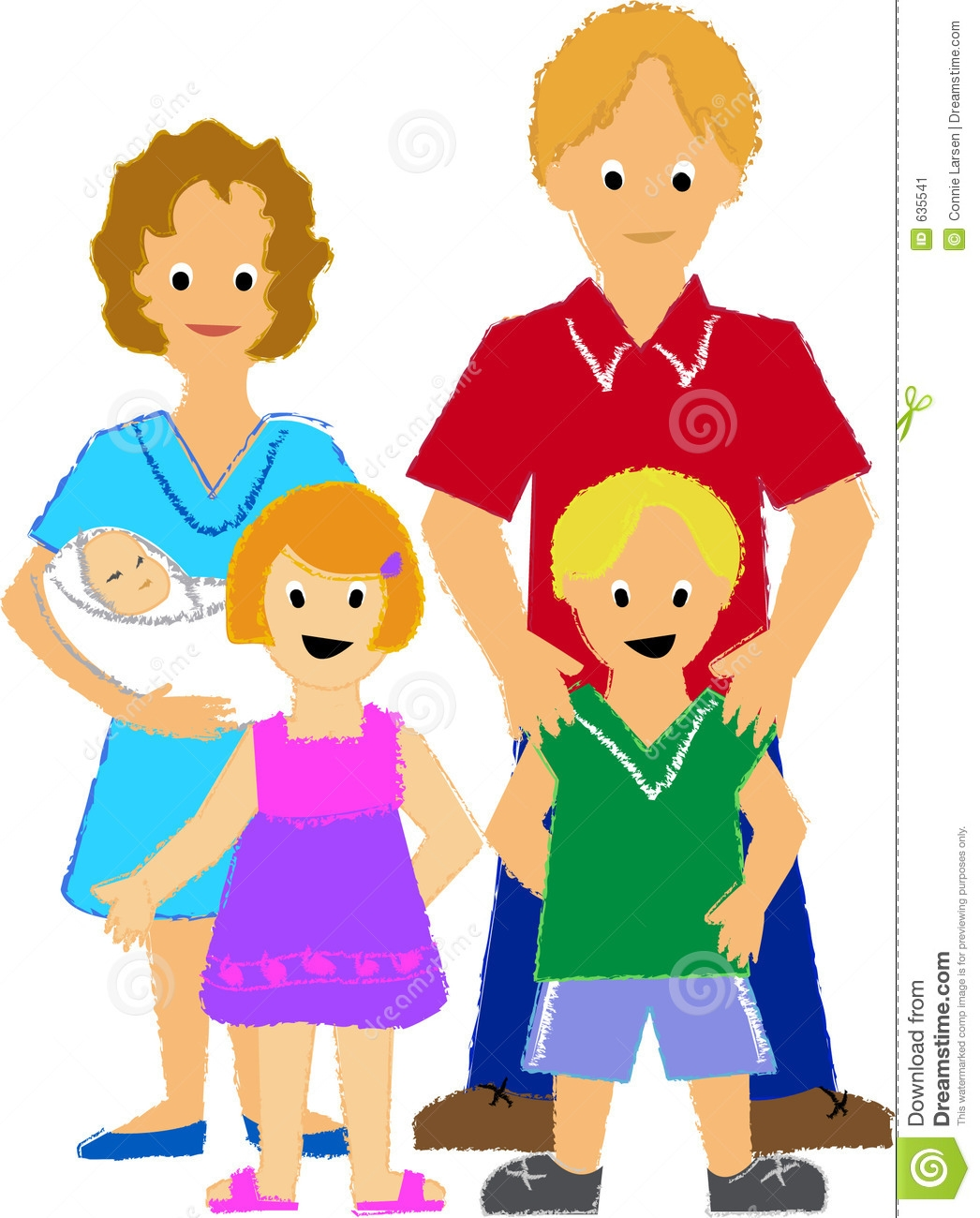 Family With Three Kids Clipart.