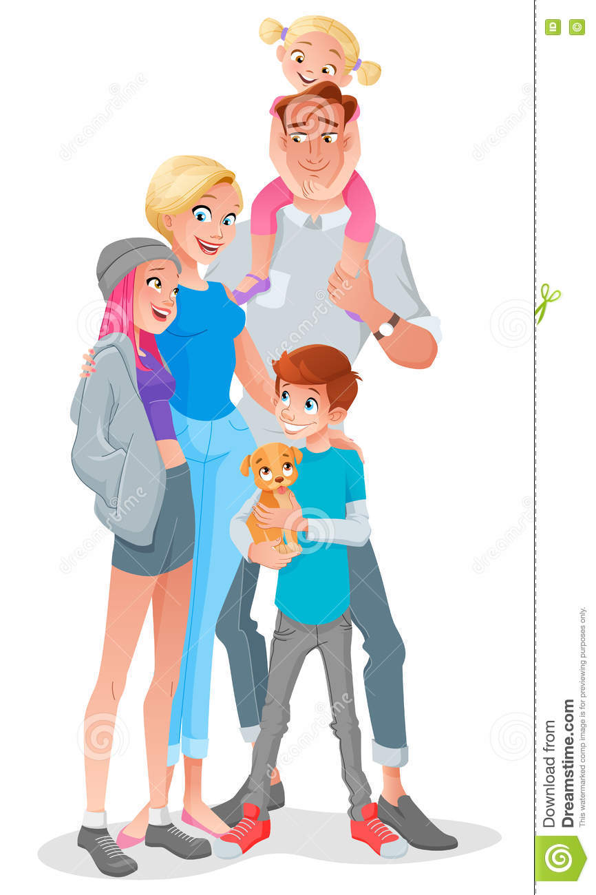 Smiling Cartoon Family With Three Kids And Pet. Vector.