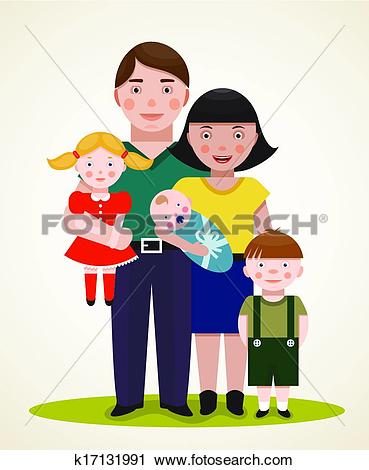 Clipart of Happy Family Parents with Three Children k17131991.