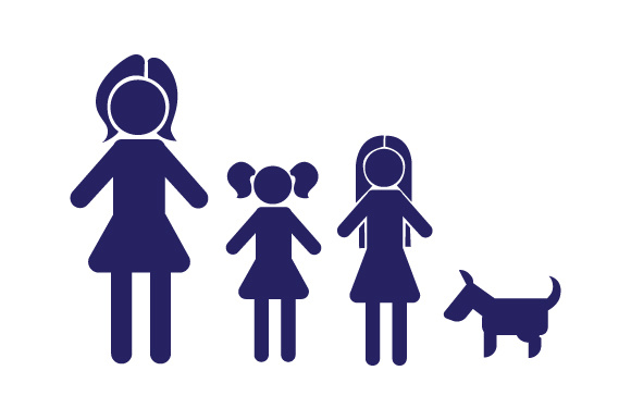 Family Car Decal Mom and 2 Daughters with dog.