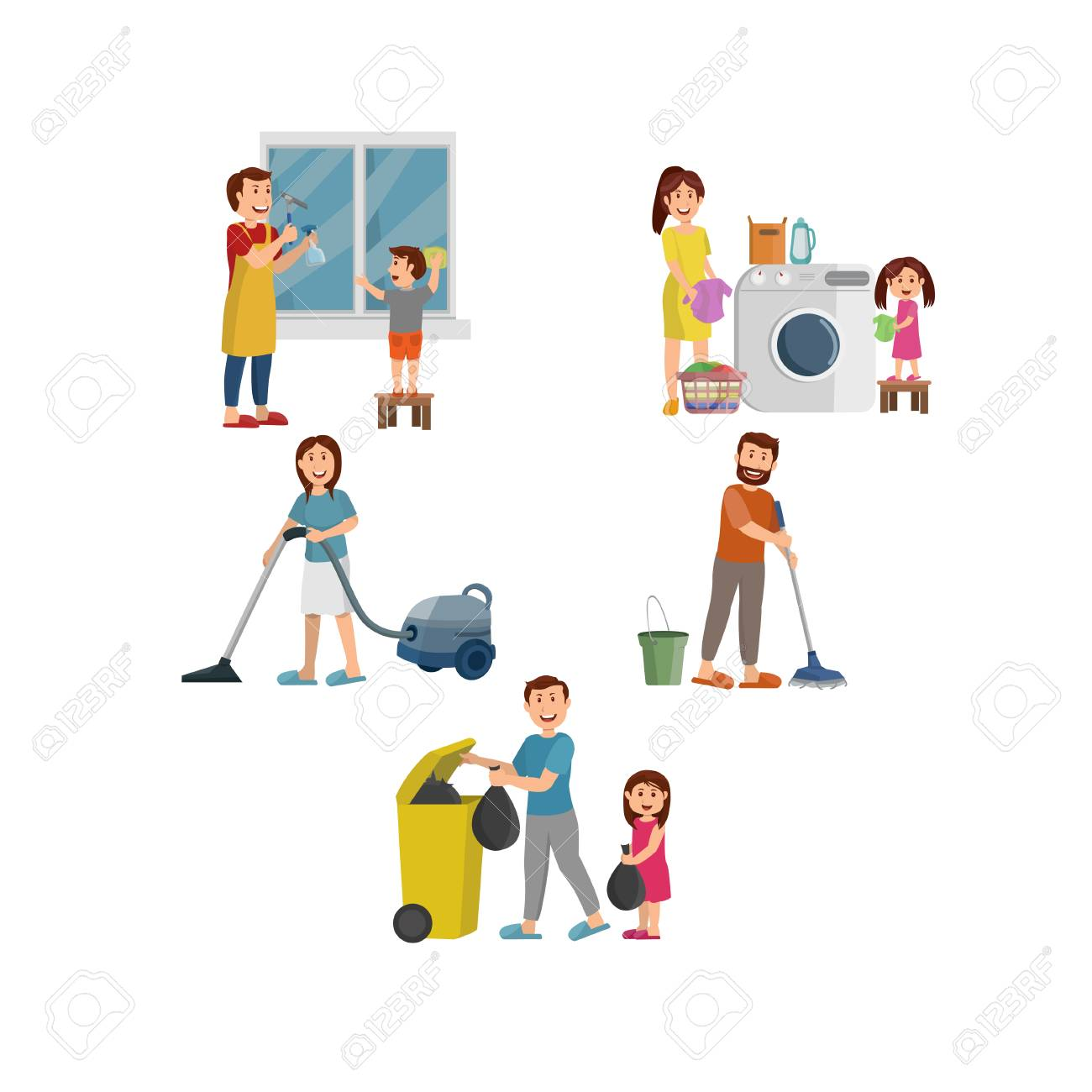 Happy Family Working Together Cleaning Home, Flat Vector.