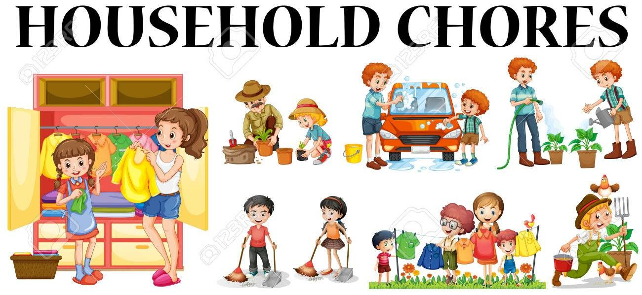 Image result for family doing household chores together clipart.