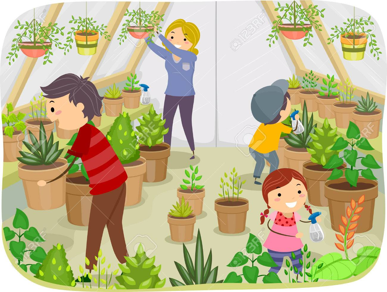 Illustration Of A Family Working On Their Greenhouse Royalty Free.