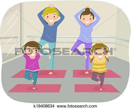 Clipart of Family Yoga k18408634.