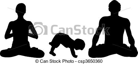 Family Yoga Vector.