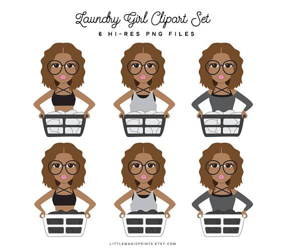 Laundry Girl Clipart, Laundry Day Brunette Black African.