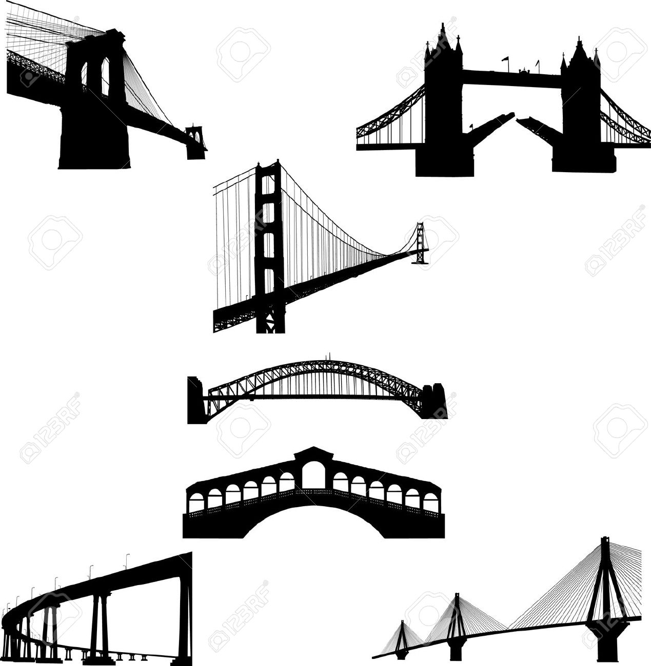 The Most Famous Bridges Of The World Silhouette Royalty Free.