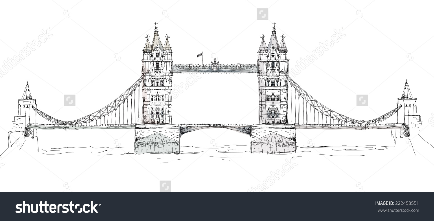 Sketch Collection Famous Buildings London Tower Stock Vector.