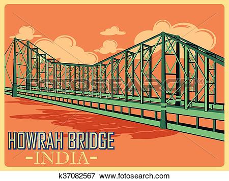 Clip Art of Vintage poster of Howrah Bridge in Kolkata famous.