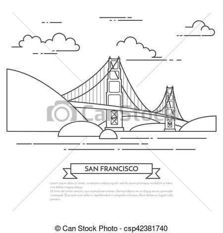 EPS Vector of San Francisco banner with famous bridge Golden Gate.