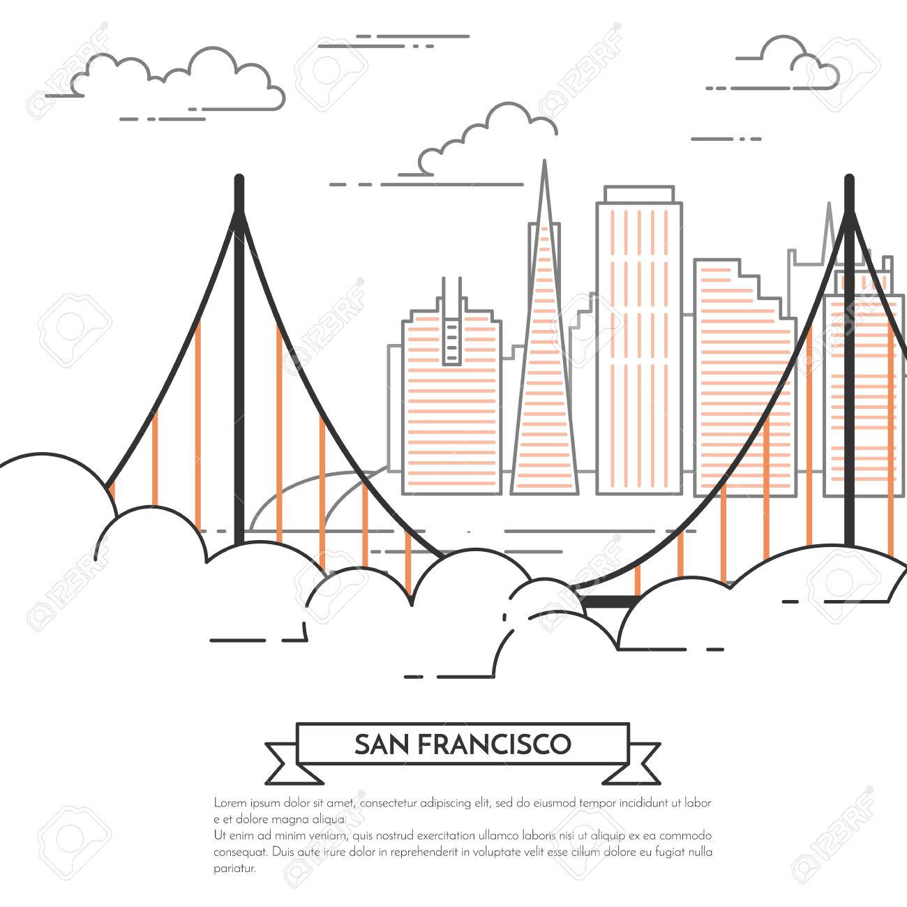 San Francisco Banner. City Landscape With Famous Bridge Golden.