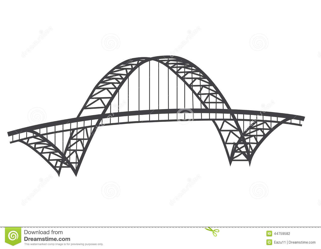 Fremont Bridge Drawing Stock Illustration.