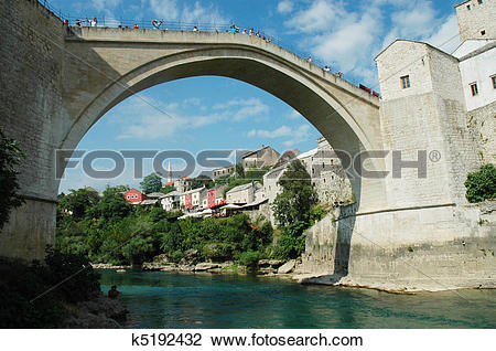 Stock Photo of Mostar with the famous bridge k5192432.