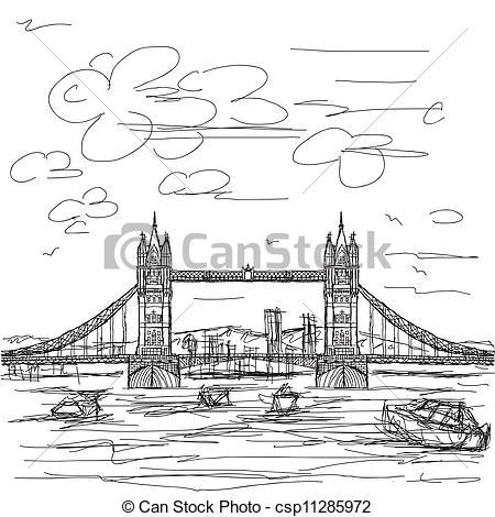 Vectors Illustration of tower bridge.