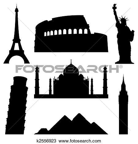 Clip Art of Famous buildings k20116829.