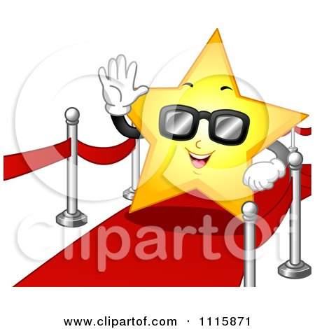 Clipart Famous Star Wearing Sunglasses And Waving On The Red Carpet.