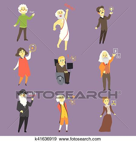 Famous Scientists Of The History Set Clip Art.
