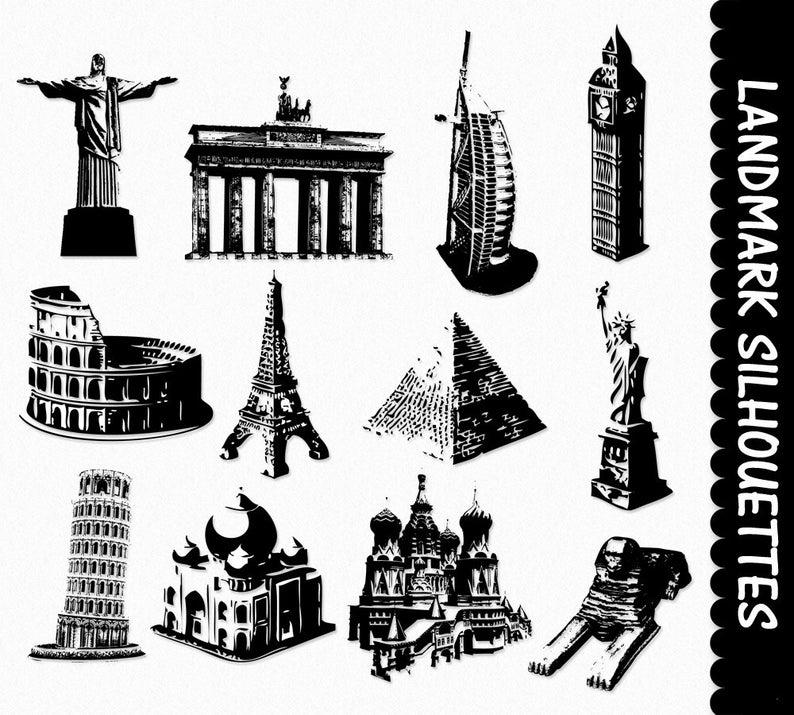 Famous Landmarks Clip Art Graphics Places Clipart Scrapbook Silhouette Pisa  Statue Of Liberty Eiffel Tower Digital Download PNG Vector.