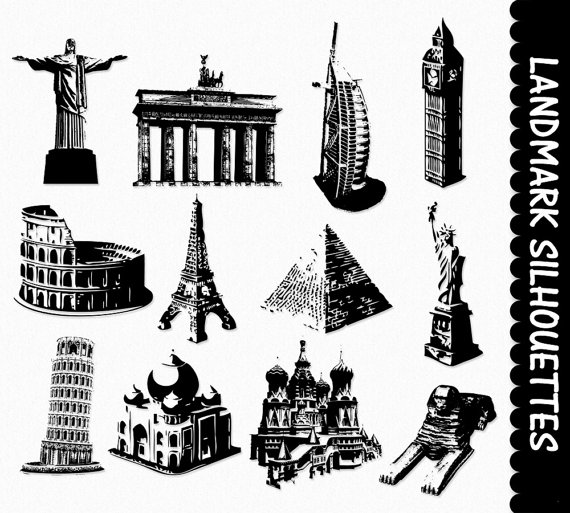 World famous places clipart.