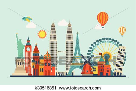 World famous attractions Clipart.