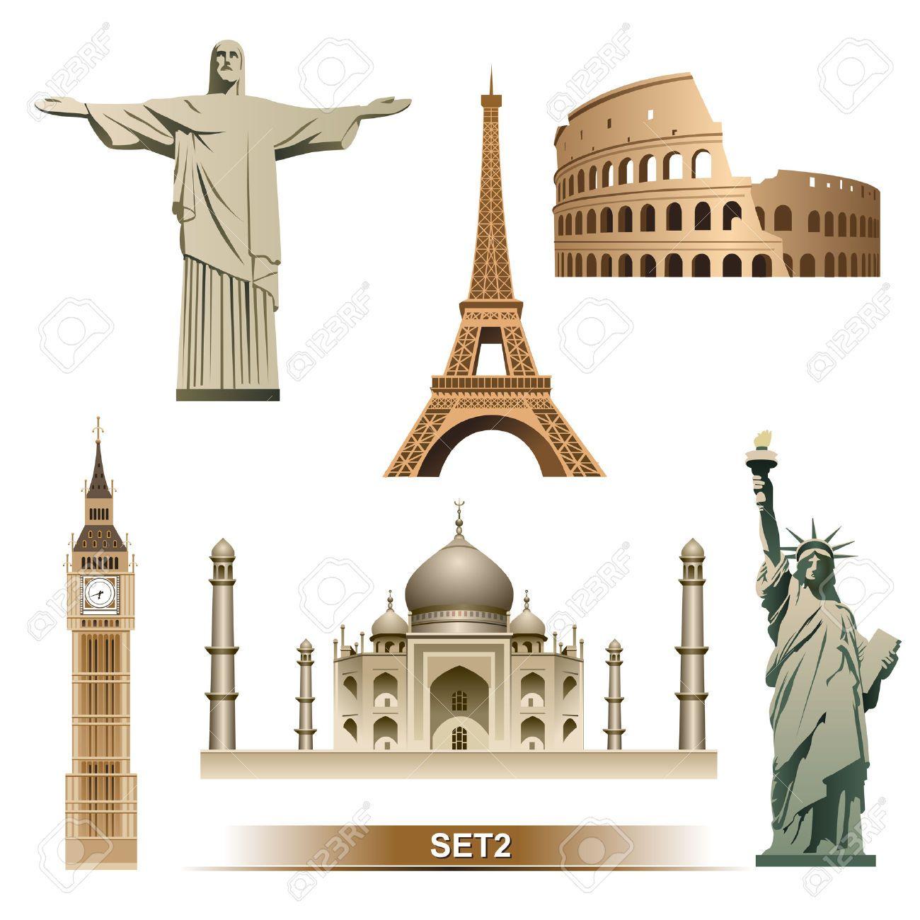 famous landmarks of the world clip art images.