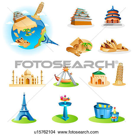 Clipart Of Famous Places And Monuments Of #41527.