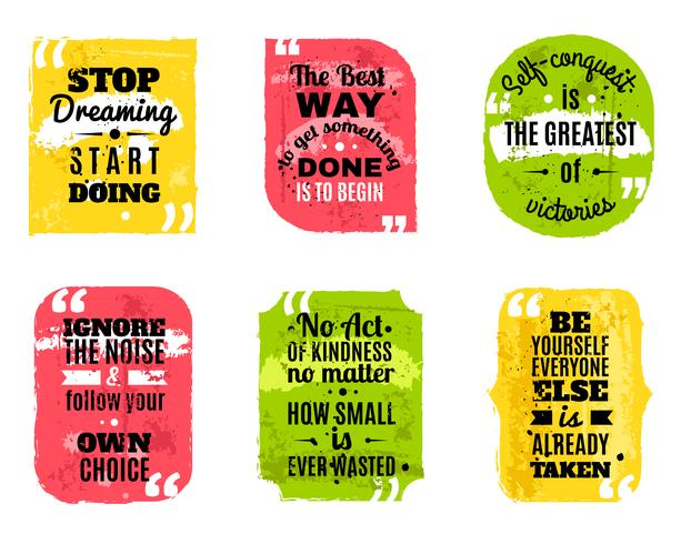 Famous quotes colored textured icons set.